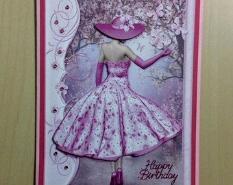 Pink Birthday Card * Pink Dress Birthday Card * Birthday Card For Her * Pretty Pink Birthday Card * Pink Card * Birthday Card * Pink Dress *