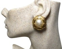 Authentic Chanel Vintage Gripoix White Mabe Pearl and CC Earrings