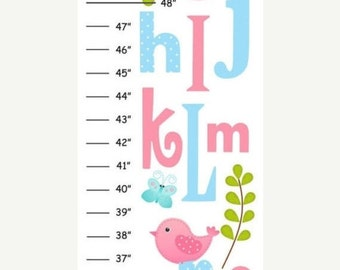 ON SALE Personalized Pink & Blue Abc Birds Canvas Growth Chart