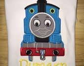 Thomas The Train Shirt - Embroidered Shirt - Machine Applique - Birthday or any Occasion