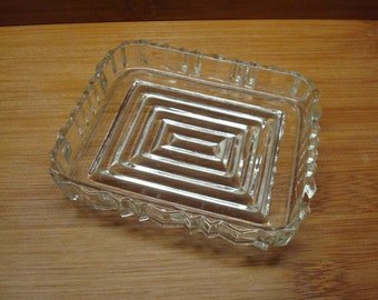Vintage Glass Trinket Dish - Rectanguar Ribbed Pattern - Scalloped Edge - Excellent Condition!!