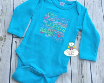As Lucky as can be because the worlds best mommy belong to me Shirt, Gown, or Bodysuit, New Baby Gift, Baby Shower Gift
