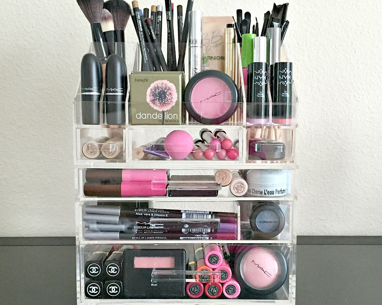 Acrylic Makeup Organizer 3 Drawer Plus Storage By