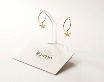 UK Gold Starfish Earrings, starfish earrings, contemporary hoop earrings, modern hoop earrings, nautical jewellery