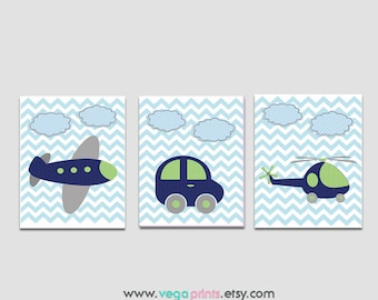 Navy blue and green Transportation wall art, nursery Print Set , Kids room wall decor, car, helicopter, plane, blue, light blue -  UNFRAMED