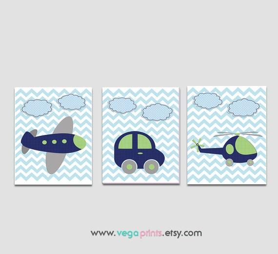 Navy Blue And Green Wall Decor : Navy blue and green transportation wall art nursery print set