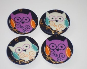 "Cute Owls Fabric Covered Buttons set of 3 or 4 or 6 Large Buttons #60 1.5"" 38 mm Handmade Large Buttons Metal Owl Buttons"