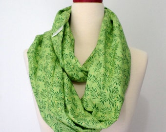 Handmade Infinity Scarf - Loop Scarf - Women Scarf Cotton Spring Summer Scarf - Holiday Scarf - Green scarf Gift for Her