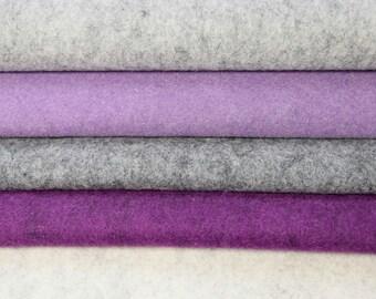 Wool felt 5 pieces (each 50 x 75 cm) approx. 1.5 mm grey - purple