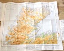 Vintage Collectible Fold up Map, Ordance Survey Map Scotland North, Sheet 7, Retro Decor Classic Car Accessory, Old Travel, Nostalgia Kitsch
