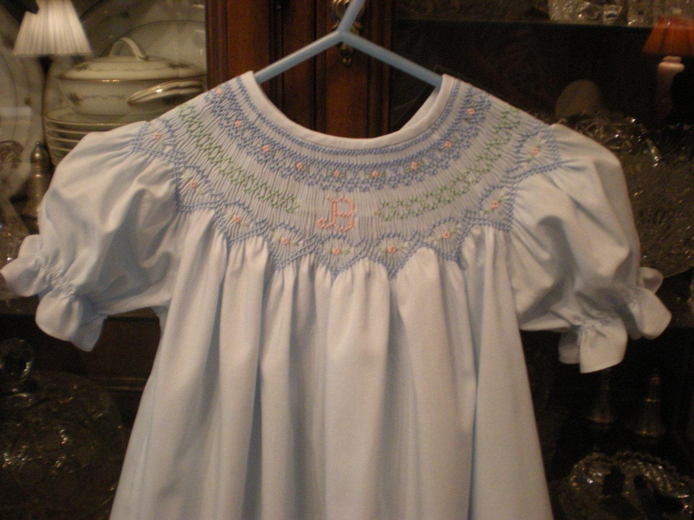 smocked monogram dress made to order