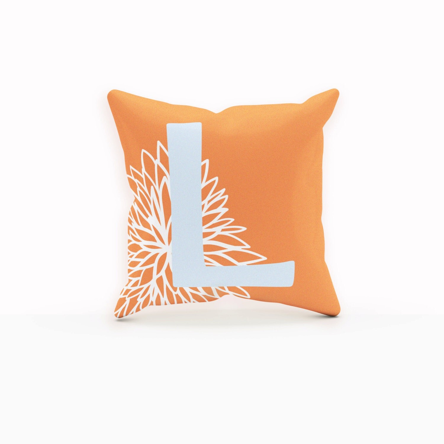 Throw Pillows Orange Rustic Monogram Rustic Modern Decor