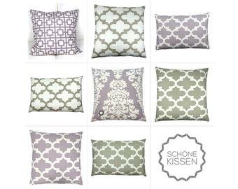 1 pillowcase BERLIN Baroque pattern lilac vanilla 40 x 40 cm