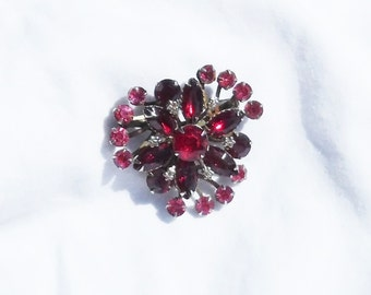Vintage Red And Pink Rhinestone Brooch Pin 1950s