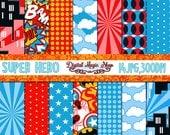 Superhero digital paper, Seamless Patterns- 14pcs 300dpi (paper crafts, card making, scrapbooking) Commercial use
