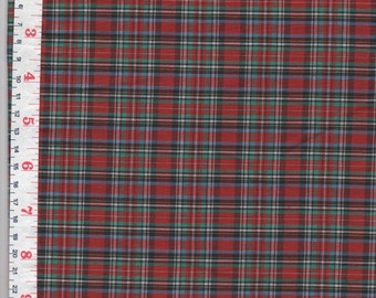 Red Plaid Fabric Broadcloth  by the Yard