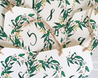 Table number cards - blush watercolour wreath