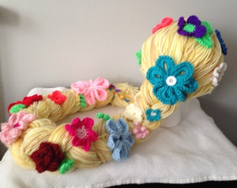 Disney Tangled inspired Rapunzel  wig hat with flowers