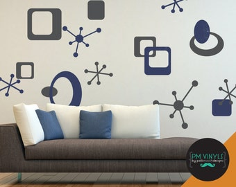 Large Retro Starbursts, Ovals and Squares Vinyl Wall Decals - SHA024-LG