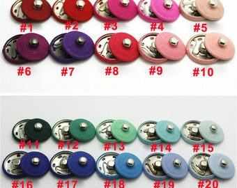 Wholesale 100sets/10sets 55color pick Solid fabric covered snap Fasteners Invisible Poppers metal Buttons Press Studs Clothes Sewing 21mm