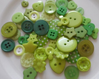 50 Buttons Fantasy Mixed in various shapes and colors Red Yellow Green Blue Fuchsia