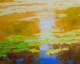 Waterlilies Large Size Landscape oil Painting Original Handmade Artwork One of a Kind Made by Palette Knife Signed artwork