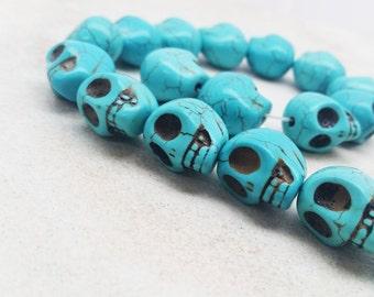 How-lite Turquoise Skull Beads