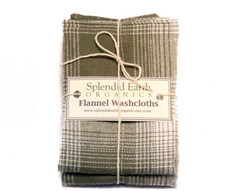 Flannel Washcloths - Handstitched, Plaid Washcloths, Two Per Package