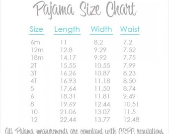 "Pajama Size Chart & Information - Visual Information Only  **PLEASE DON""T PURCHASE**"