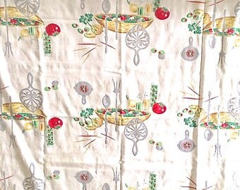 Old Fashioned Kitchen Tablecloth Printed With Salad Fixings