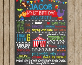 Carnival Birthday Chalkboard- PRINTED & SHIPPED- Custom Birthday Chalkboard- Choose Your Size!!