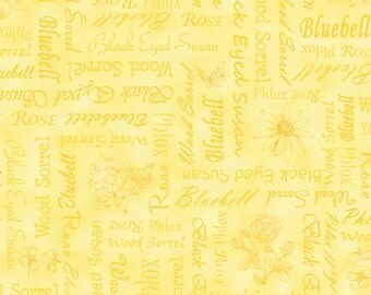 Per Yard, Floral Etchings Fabric Flower Names By Quilting Treasures