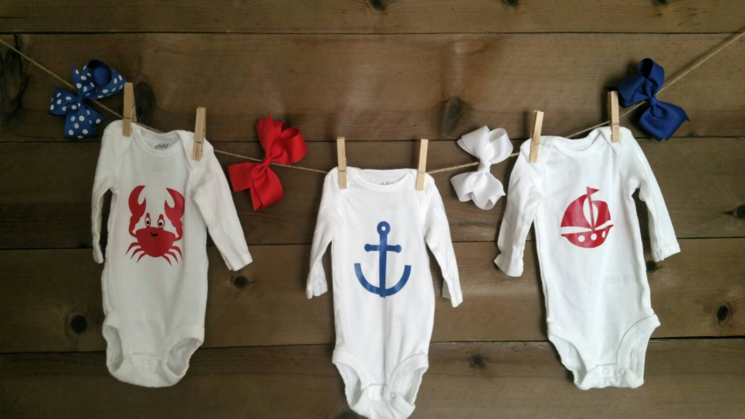 Clothes line kit for a nautical themed baby shower Includes