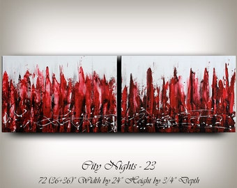 CITYSCAPE PAINTING, Abstract Large Painting 72 Contemporary Art on Canvas Wall Art Modern Home Decor Surreal Wall Hanging Urban Art Fire Red