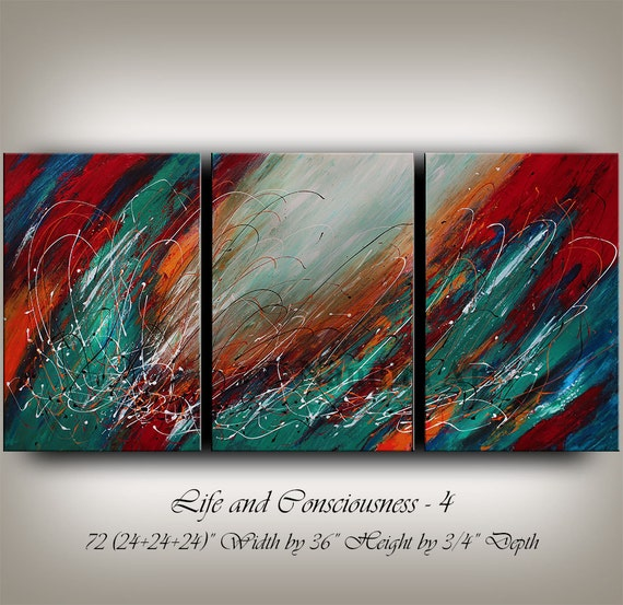 Large Wall Art ABSTRACT PAINTING Acrylic Wall Decor Turquoise Flower