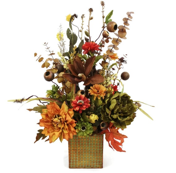 Silk flower arrangement table centerpiece home d cor indian for Artificial flowers for home decoration india