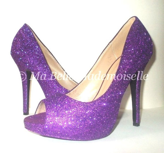Items Similar To Purple Glitter Shoes, Glitter Shoes