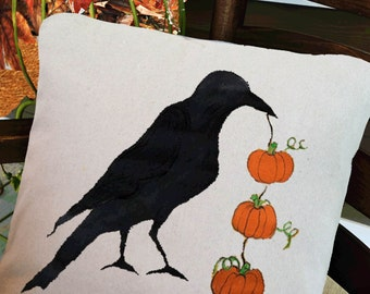 Crow and Three Pumpkins,  Halloween, Holidays, Accent Pillow Cover, Throw Pillows, Indoor/Outdoor Pillows, Hand Painted