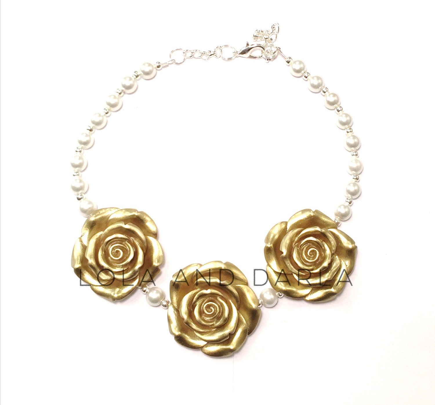 gold flower necklace baby toddler by
