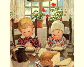 "Give thanks by  Jessie Wilcox Smith., Kids praying, Thanksgiving. 11x14"" Canvas art print"
