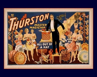 "Thurston Master Magician, All Out of a Hat - Vintage Magic Poster, 1910  11 X 14""  canvas art print"