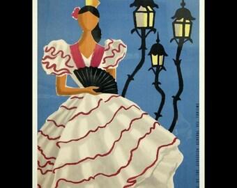 "vintage-travel-posters  Spain - Vintage Travel Poster. 11 X 14""  canvas art print"
