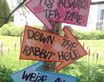 Whimsical Alice in Wonderland Large Arrow Signs (3) - Colorful& Sturdy (Three signs on Foam Board) Mad Hatter Tea Party, Shower, Birthday