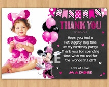 Minnie Mouse Thank You Card with Photo, Minnie Thank You Card Note, Minnie Mouse Printable Chalkboard Thank You matches Birthday Invitation