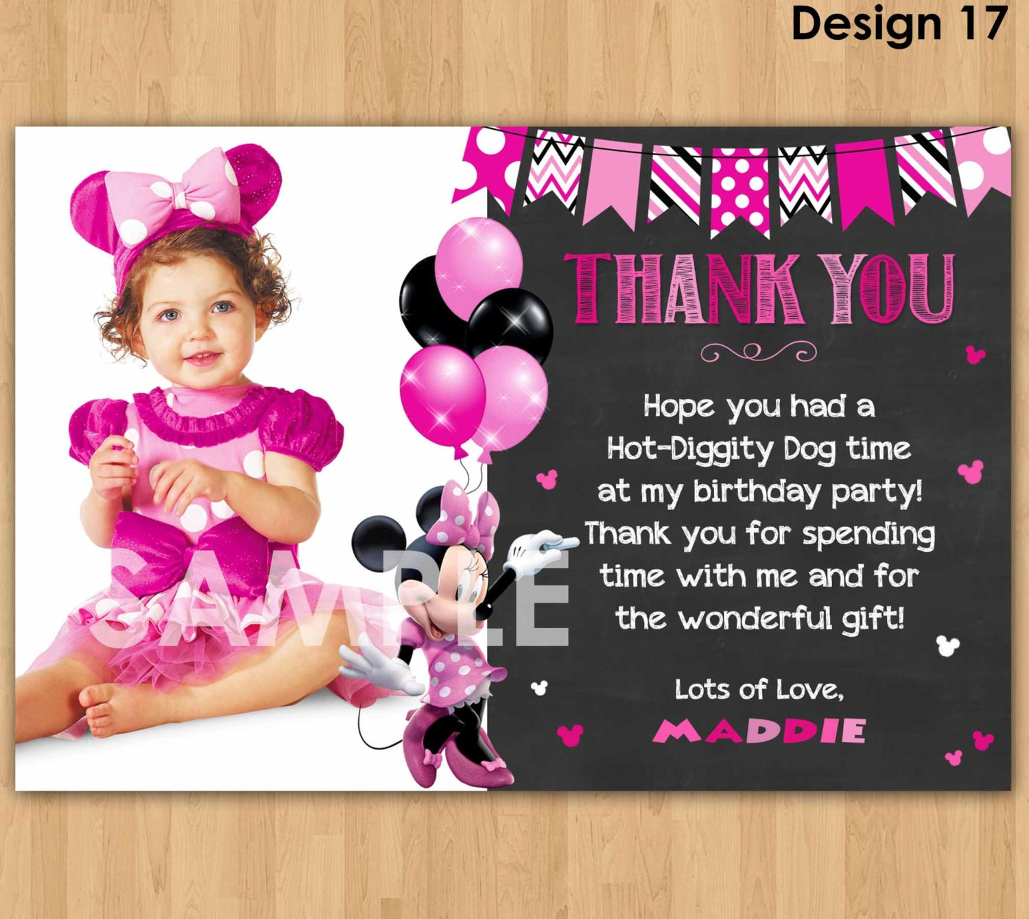 minnie mouse thank you card with photo minnie thank you card wedding invitations birthday invitations