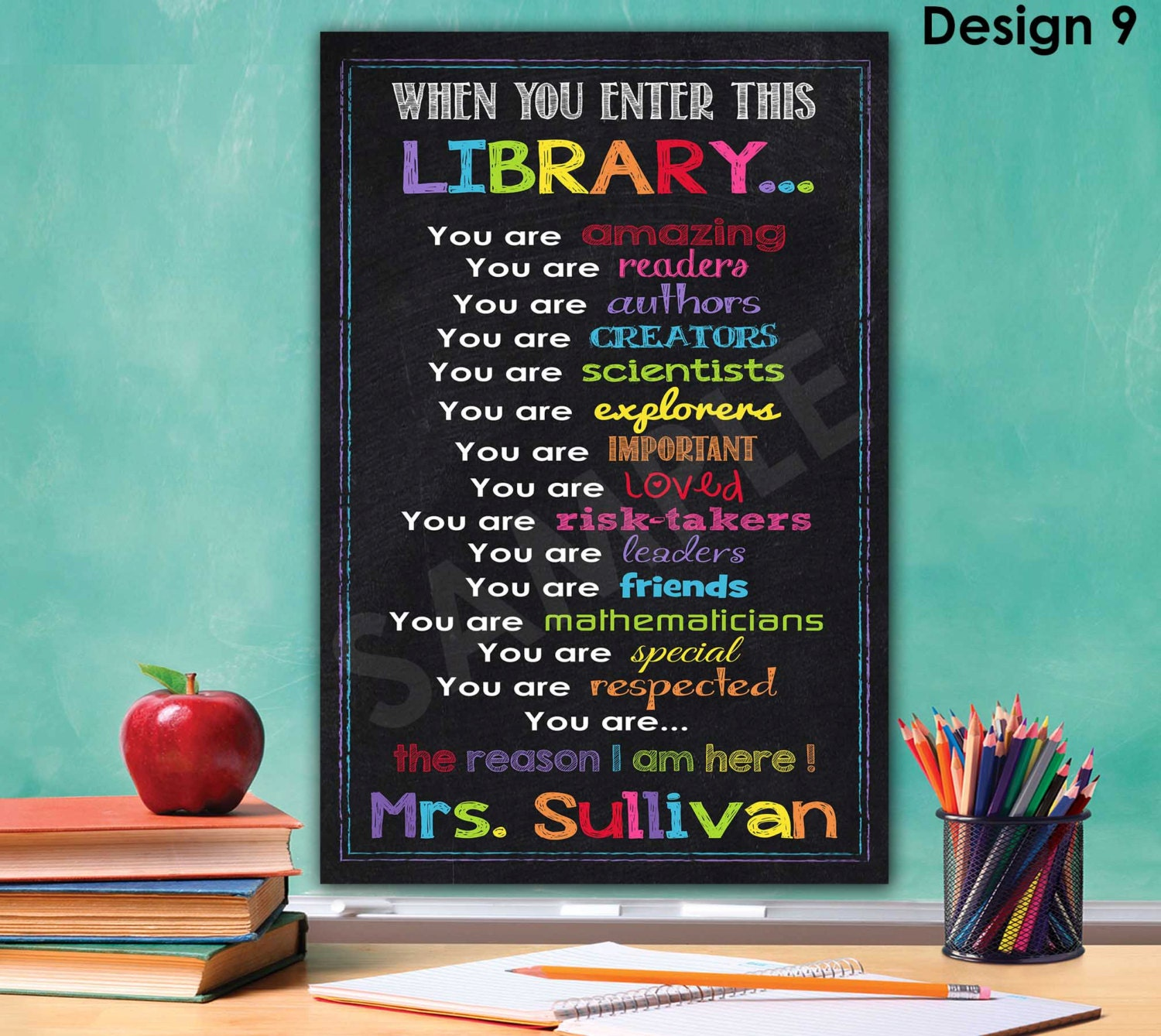 library sign library decor librarian gift library rules. Black Bedroom Furniture Sets. Home Design Ideas