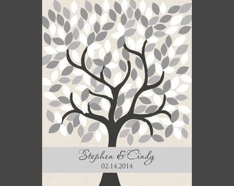 Grey and Silver Signature Tree, Wedding Signature Tree, 172 Leaf Alternative Guestbook, Wedding Guest Tree, Silver Anniversary Tree
