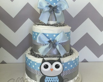Deluxe Owl Diaper Cake in Blue and Gray, Owl Baby Shower Centerpiece for Boys, Owl Baby Shower Decoration