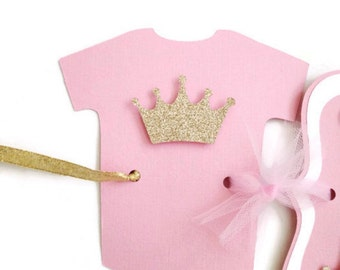 Princess Baby Shower Banner, Pink and Gold Banner