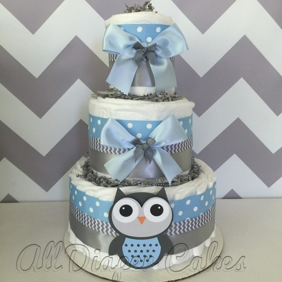 deluxe owl diaper cake in blue and gray owl baby shower. Black Bedroom Furniture Sets. Home Design Ideas